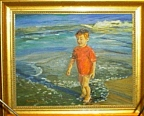 boy in surf painting by T H Roberts